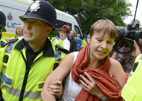Green MP Caroline Lucas is arrested near Balcombe during anti-fracking protest at Cuadrilla